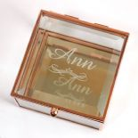 Glass Trinket Box, Personalised Engraved ref TBMB